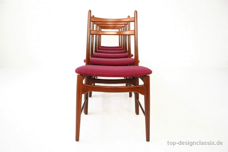 Set Of 6 Lubke Mid Century Teak Dining Chairs Germany 1960s Top Designclassix