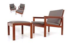 3tlg. Set, 2 x Lounge Chair + 1x Hocker von Illum Wikkelsø für Niels Eilersen, Denmark 1960s